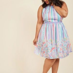 Modcloth Behold the Blogger Striped Floral Dress